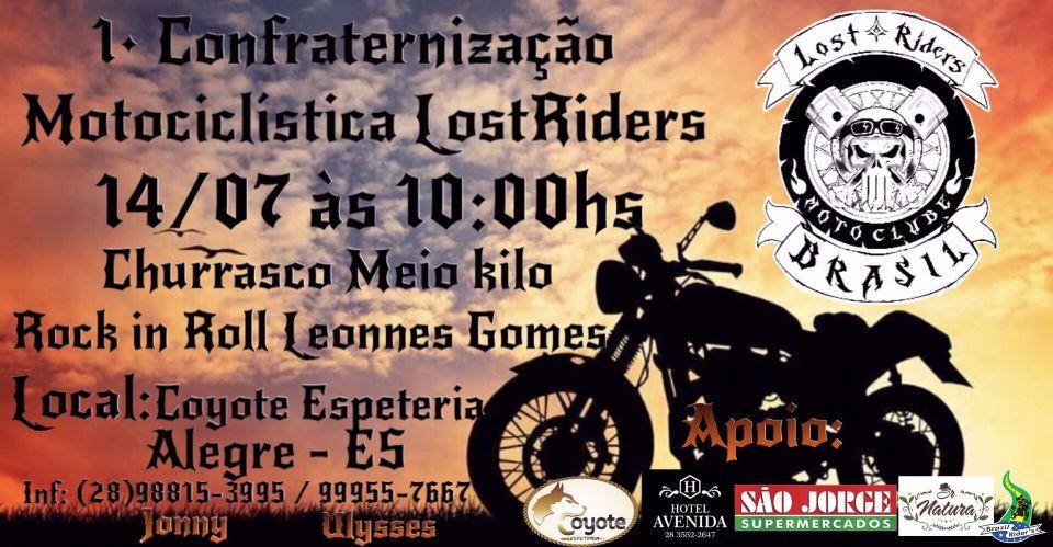Primeira  Confraternização Motociclística Lost Rider's Churrasco meio Kilo Domingo 14/07 a partir das 10:00 hs Rock in Roll com Leonnes GomesLocal: Coyoteespeteria Espeteria   OBS: Levar meio kilo carne          Apoio: @coyoteespeteria @hotelavenida @saojorgesupermercados  @srnatura